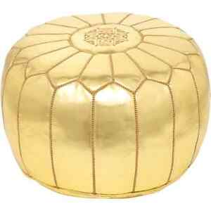 MOROCCAN GOLD FAUX LEATHER HAND STITCHED POUFFE