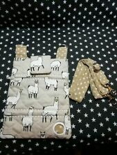 Dog walking  treat and  poo bag holder handmade beige llamas