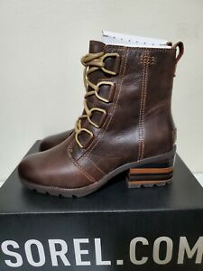 Sorel Cate Lace Up Brown Leather Waterproof Boot NL3385-282 Women's 6 New