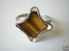 835 Silber Ring Tigerauge Scheibe Raute 3,1 g Verstellbar Größe Minimum 16,5 mm