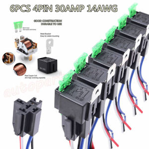 12V Fuse Relay Switch Harness Set- 30A Blade Fuse 4-Pin SPST Relays 14AWG Wires