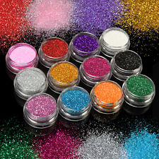 Set of 12 Color Glitter Powder Nail Art False Acrylic UV Gel Tips Tattoo Decor