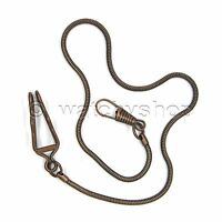 "NEW Vintage BRONZE SNAKE Pocket Watch Chain 14"" Fob Belt Clip Men Accessory FC24"