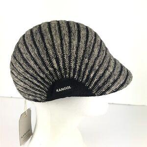 KANGOL Marl Stripe Black Tan Cap Hat Mens Small NWT