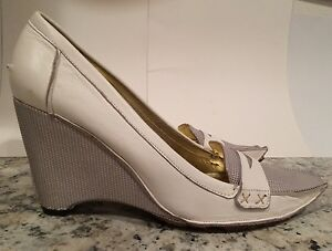 Jessica Bennett Jfame Vintage Pumps Wedge Heels Leather White 9.5 M