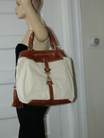7  FOR ALL MANKIND BROWN LEATHER TASSEL DRAWSTRING CANVAS LARGE TOTE  BAG