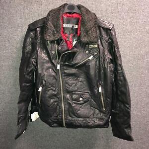 Superdry Track Biker Leather Jacket Black 2XL TD014 VV 08