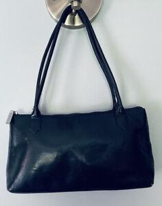 Vts 90s Hobo International Black Leather Baguette Shoulder Bag Purse Black