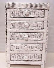 Old Style White Wicker Mini 5-Drawer Storage Toy Doll / Jewelry Chest