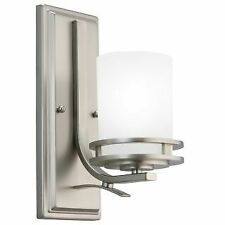 """Kichler 5076NI Hendrik Single Light 12"""" Tall Wall Sconce with Etched Glass Shade"""