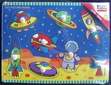 PUZZLE ~ NEW FUN FACTORY 8 PIECE WOODEN PEG KNOB PUZZLE ~ SPACE