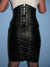 Black Faux leather burlesque style knee length pencil skirt all sizes