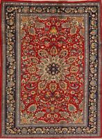 Vintage Floral Sarouk Traditional Area Rug Wool Hand-Knotted Oriental Carpet 6x9