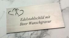 TÜRSCHILD Edelstahl (V2A) mit Herzen - 125x60mm rechteckig - mit WUNSCHGRAVUR