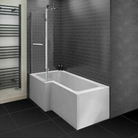 1700MM L Shaped Shower Bathtub Front & End Bath Panel With Shower Screen +Waste