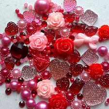 25g Valentines Mix Pearls/Roses/Gem Flatback Kawaii Cabochons Decoden Craft