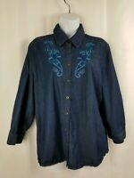 Laura Scott Womens Shirt Size XL Blue Denim Embroidered Button Down Long Sleeve