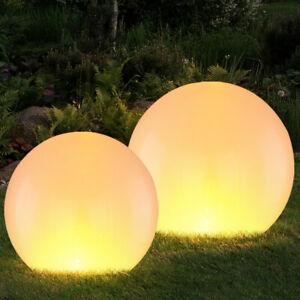 2er Set LED Solar Außen Steck Leuchten Feuer Flacker Effekt Kugel Garten Lampen