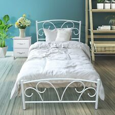 Single Purple Looking Metal Bed Frame With Posture Slats Modern Sturdy