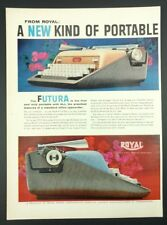 "Vtg. 1950's Royal Futura Typewriter Print Ad Decor (14""x5.5"") 1B"