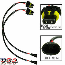 2x H11 Socket to 9005 9006 Wiring Harness Adapter For Headlight Fog Lamp DRL