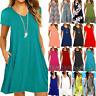 Women's Plus Size Loose Mini Dress Summer Beach Tunic Kaftan Long Tops Sundress