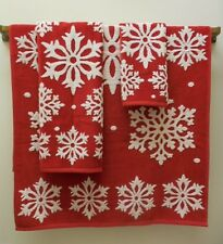 Red & White Christmas Snowflake Holiday Towels 3 Pc Set Velour Bath/Hand/Tip New