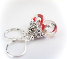 leverback dangle Silver Pl. 2 Left! Czech Glass Earrings Red Silver Foil Ice
