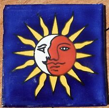 """10~MEXICAN TALAVERA POTTERY 4"""" tile Hand Painted kiln fired Astronomy Celestial"""