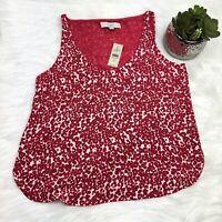 New Ann Taylor LOFT Sleeveless Tank Top Womens SP Petite Pink Print Scoop $50