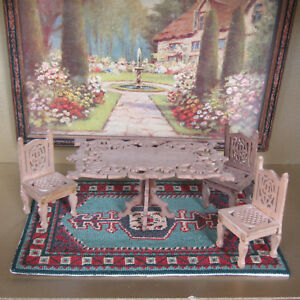 Antique Dollhouse TABLE CHAIRS Victorian Furniture Carved FRETWORK SCROLLWORK