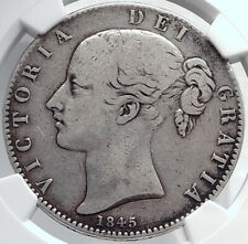 1845 Great Britain UK QUEEN VICTORIA Antique Silver LARGE Crown Coin NGC i81751