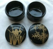 2X ST JAPAN BLACK LACQUERWARE PAINTED GOLD LEAF ROUND COVERED wooden BOXES