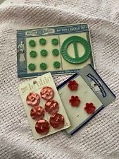 Vintage Buttons Lot On Card Plastic Red Flowers Green Buckle Retro