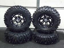 "Yamaha Big Bear 350 25"" Quadking Atv Tire Itp Ss212 Black Wheel Kit Sra1Ca"