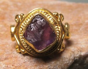 Gold plated brass natural amethyst ring UK L½/US 6. Gift bag.