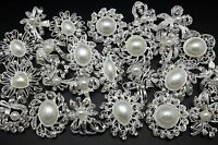 Lot 24 pcs Mixed Silver White Pearl Rhinestone Crystal Brooch Pin DIY Bouquet