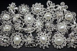 Lot 24 pcs Mixed Silver White Pearl Rhinestone Crystal Brooch Pin DIY Bouquet