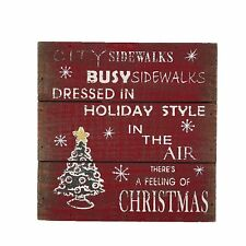 """Wood Sign There is A Feeling of Christmas Wall Decor, 8"""" by 8"""""""
