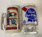 VINTAGE PABST BLUE RIBBON BEER COOL BLUE MAN THERMO SERV BEER MUG + GLASS LOT!