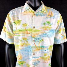 0139567c6 RARE Newport Blue Corona Extra Hawaiian Artwork Short Sleeve Shirt Mens  Large