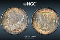 1881-S USA MORGAN SILVER DOLLAR NGC MS64 TONED GEM CHOICE UNC COLOR BU (DR)