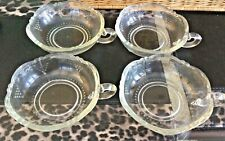 Vintage Glass Fruit Bowls with Scalloped Edges & Handle - Set of 4 - 1940's/50's