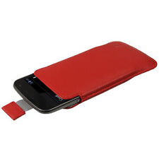 iGadgitz Red Leather Pouch Case Cover for Samsung Galaxy Nexus I9250 and LG 4
