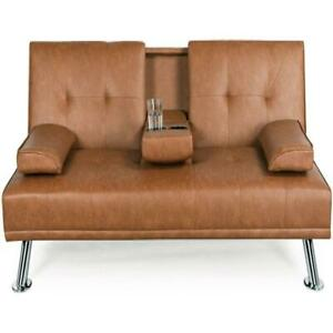 Faux Leather Futon Modern Sofa Recliner Couch Loveseat Sleeper with Cup Holders