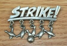 Genuine Jj Silver Tone Strike! Bowling Dangle Style Collectible Pin / Brooch