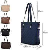 Women's Quilted Panel Design Stylish PU Leather Tote Shopper Hand Bag