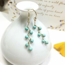 14k Gold Plated Round Bead Natural Blue Green Turquoise Hook Earrings 3.5mm