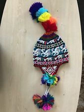 PERUVIAN CHULLO HAT WITH BEADS MULTICOLOURED RAVE FESTIVAL  HAND MADE ^15
