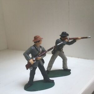 2 American Civil War Confederate infantrymen. Imex 54 mm plastic toy soldiers